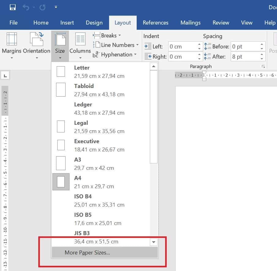 Perhatikan menu dropdown yang keluar, lalu klik pada menu yang ada di bagian bawah yakni More Pages Sizes.