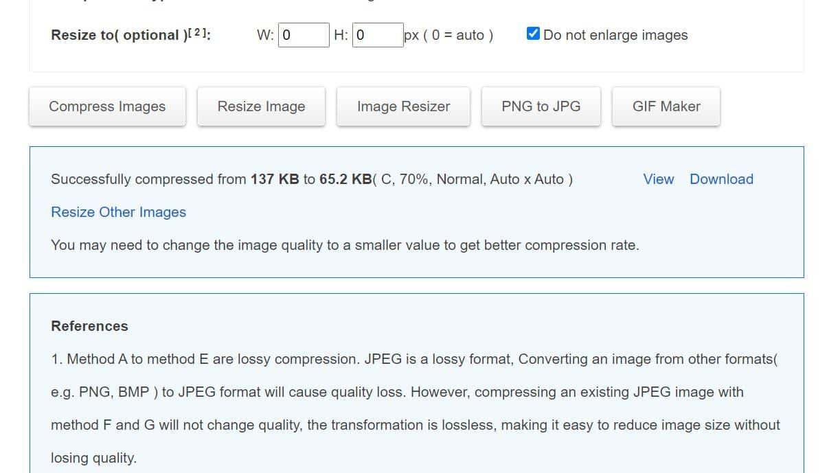 Apabila proses kompresi foto sudah selesai, Anda dapat klik tombol Download untuk menyimpannya ke dalam memori perangkat.