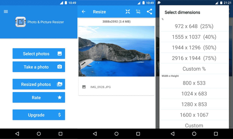 Jika foto sudah muncul, tap tombol Resize dan pilih pilih opsi Custom untuk menyesuaikan kualitas yang diinginkan.