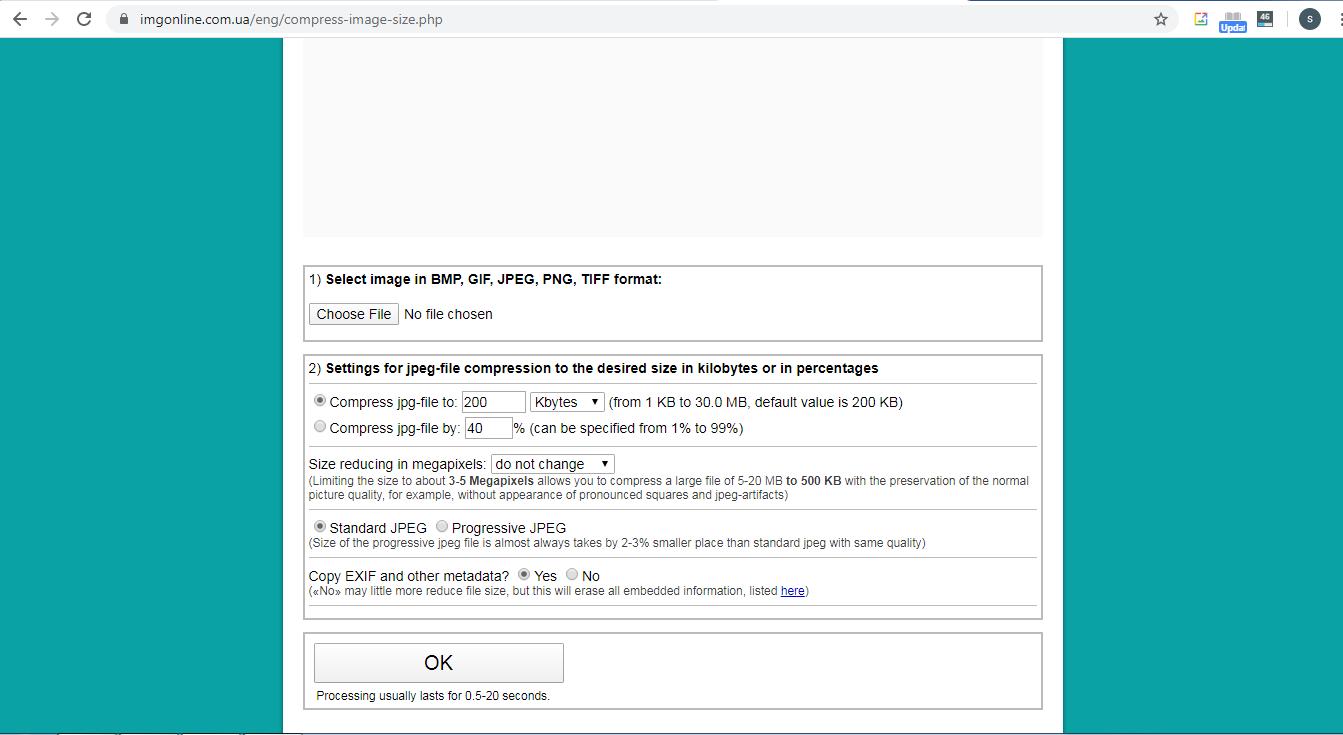 Ketika berada pada halaman Compress, klik tombol Choose File.
