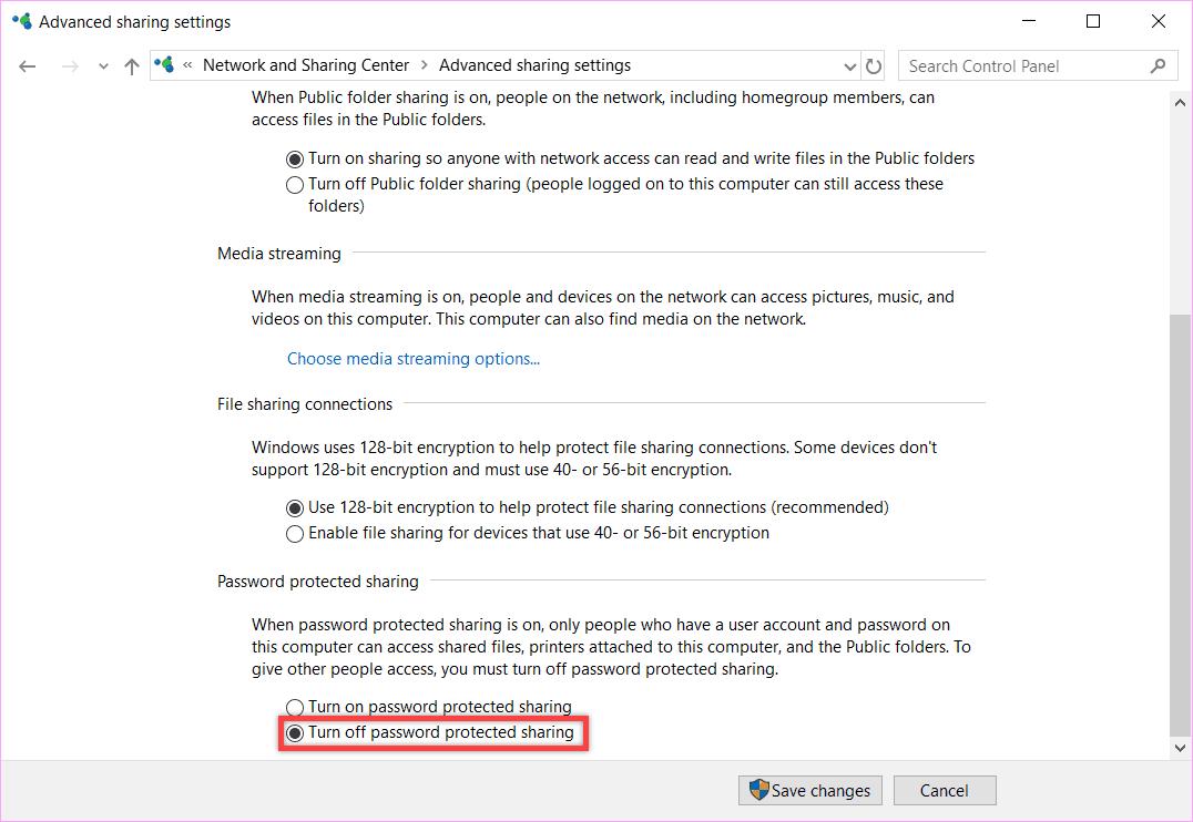 Pilih-menu-Change-Advanced-Sharing-Setting-gulir-ke-bawah-sampai-menemukan-menu-Turn-off-Password-Protected-Sharing