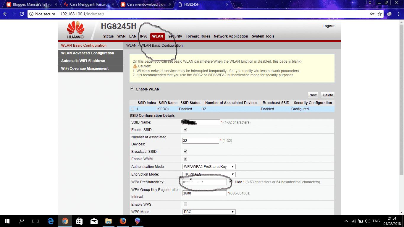 Di-dalam-menu-WLAN-tersebut-perhatikan-pada-form-PWA-PreSharedKey-dan-SSID-Name