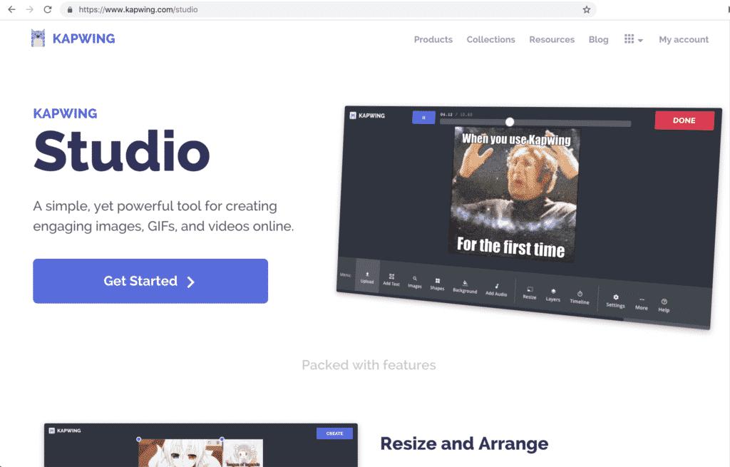 Buka-web-browser-lalu-buka-situs-Kapwling-lalu-klik-Get-Started